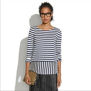 Madewell striped navy and white top